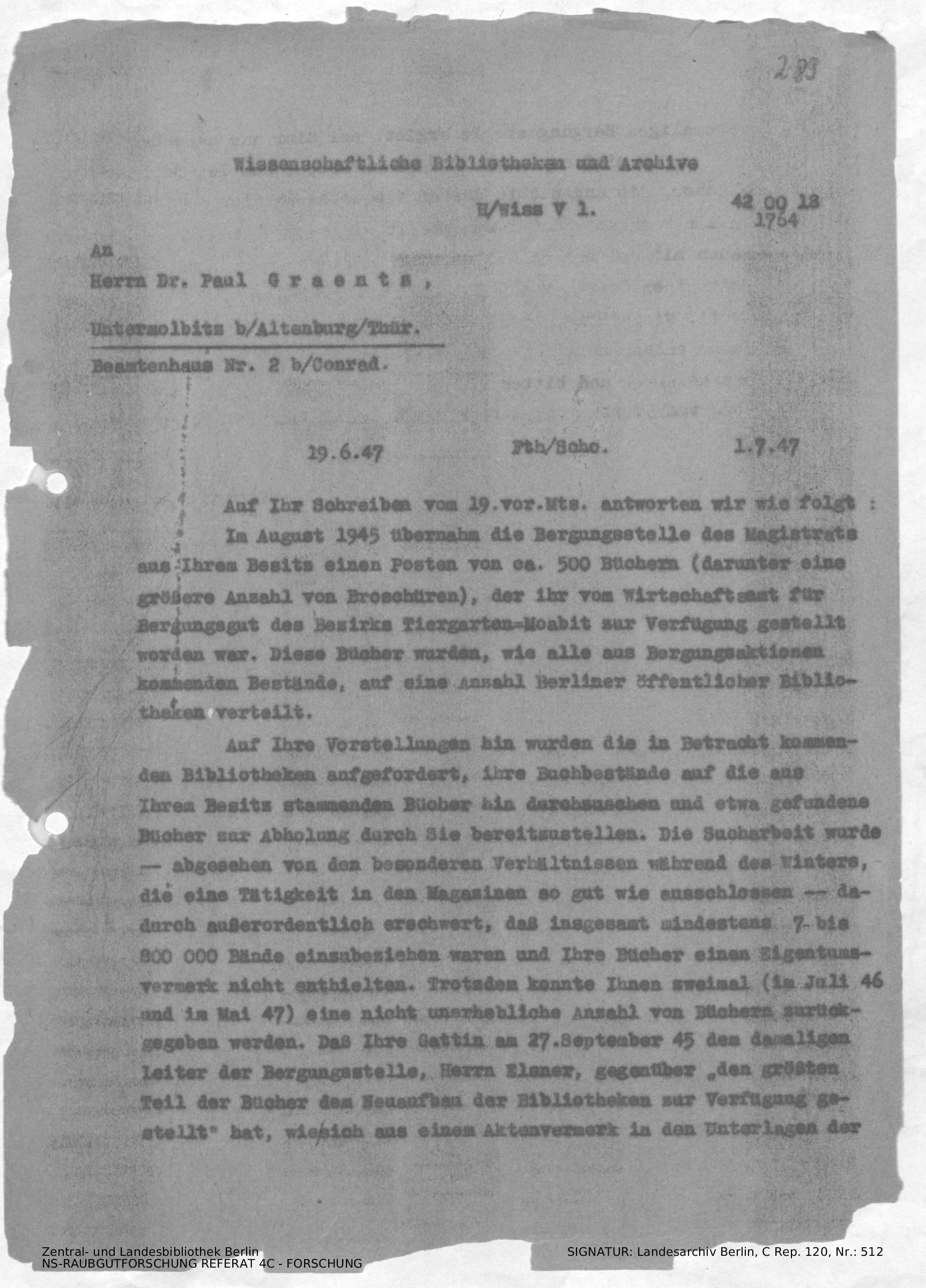 Mitteilung An P Graentz über Den Abschluss Der Suchaktion Und
