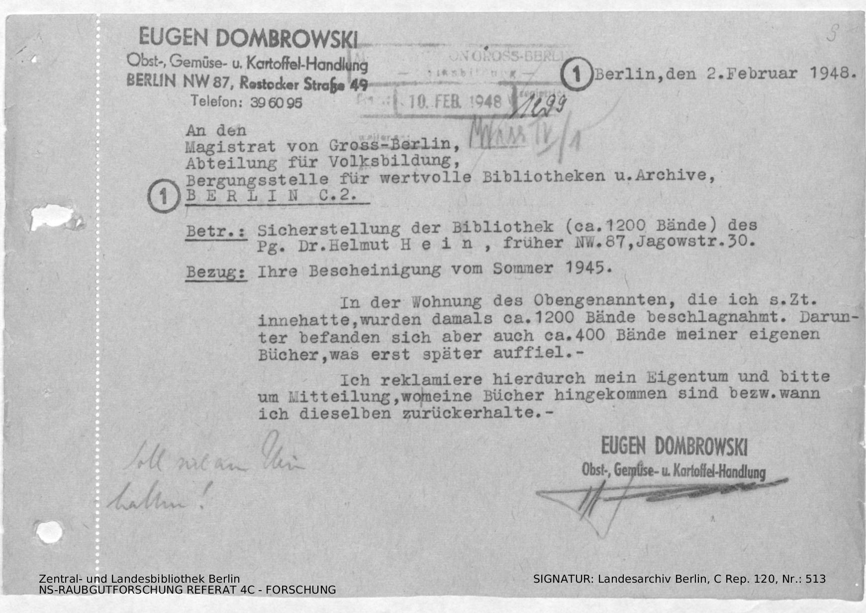 Brief von Eugen Dombrowski mit Bitte um Rückgabe seiner Bücher und ...