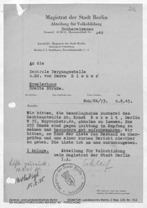 Landesarchiv Berlin, C Rep. 120 Nr. 512, Bl. 206