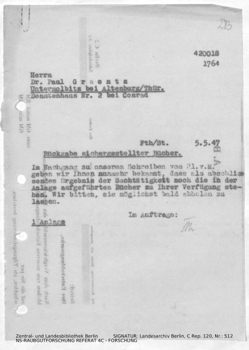 Landesarchiv Berlin, C Rep. 120 Nr. 512, Bl. 283