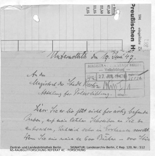 Landesarchiv Berlin, C Rep. 120 Nr. 512, Bl. 288