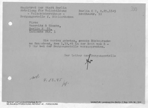Landesarchiv Berlin, C Rep. 120 Nr. 512, Bl. 330