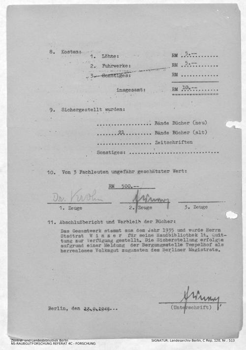 Landesarchiv Berlin, C Rep. 120 Nr. 513, Bl. 1