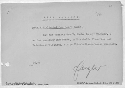 Landesarchiv Berlin, C Rep. 120 Nr. 513, Bl. 71