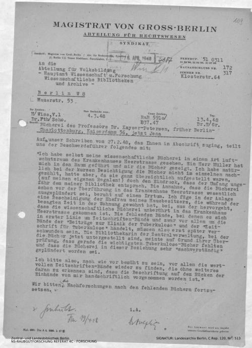 Landesarchiv Berlin, C Rep. 120 Nr. 513, Bl. 109
