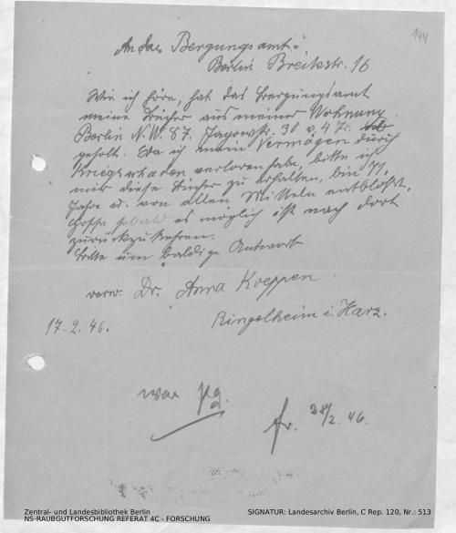 Landesarchiv Berlin, C Rep. 120 Nr. 513, Bl. 144