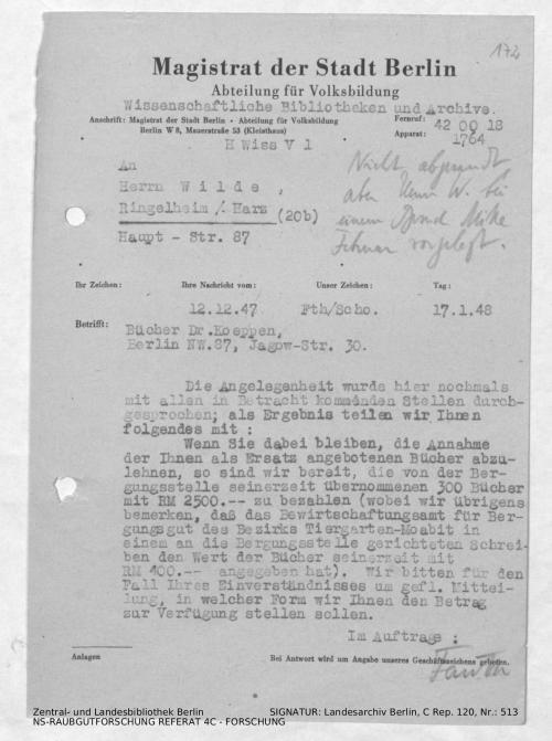 Landesarchiv Berlin, C Rep. 120 Nr. 513, Bl. 172