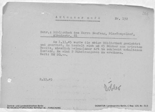 Landesarchiv Berlin, C Rep. 120 Nr. 513, Bl. 265