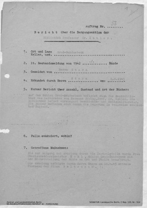 Landesarchiv Berlin, C Rep. 120 Nr. 514, Bl. 1