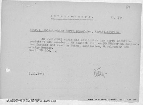 Landesarchiv Berlin, C Rep. 120 Nr. 514, Bl. 67