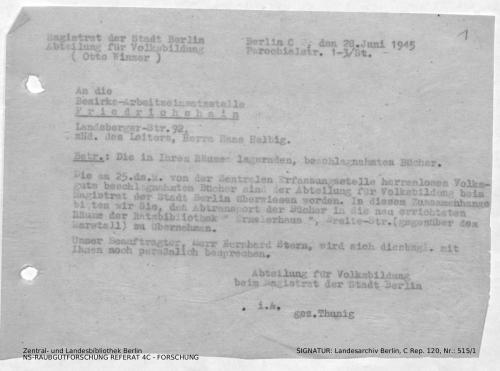 Landesarchiv Berlin, C Rep. 120 Nr. 515/1, Bl. 1