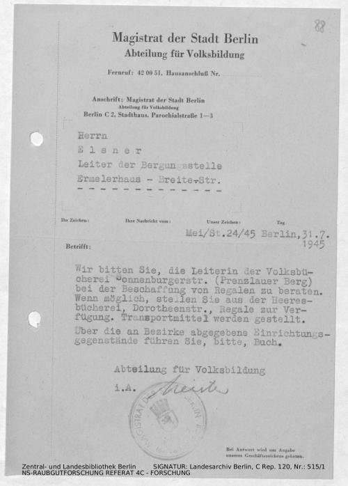 Landesarchiv Berlin, C Rep. 120 Nr. 515/1, Bl. 88
