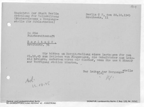 Landesarchiv Berlin, C Rep. 120 Nr. 515/1, Bl. 101