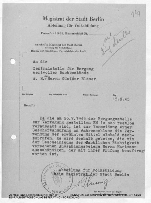 Landesarchiv Berlin, C Rep. 120 Nr. 515/1, Bl. 147