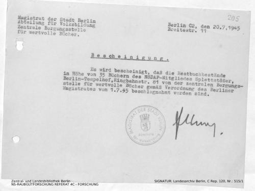 Landesarchiv Berlin, C Rep. 120 Nr. 515/1, Bl. 205