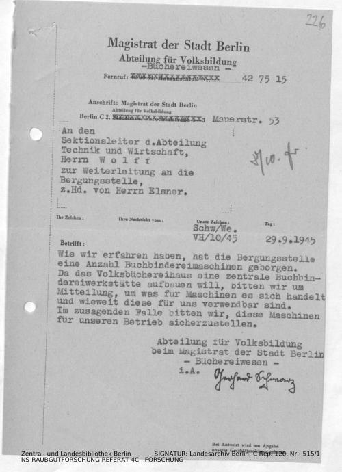 Landesarchiv Berlin, C Rep. 120 Nr. 515/1, Bl. 226