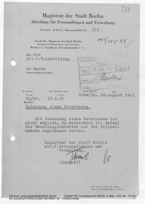 Landesarchiv Berlin, C Rep. 120 Nr. 515/1, Bl. 230