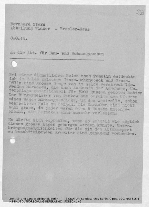Landesarchiv Berlin, C Rep. 120 Nr. 515/1, Bl. 233