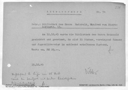 Landesarchiv Berlin, C Rep. 120 Nr. 515, Bl. 201
